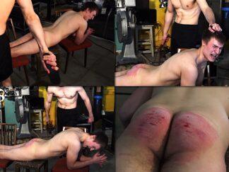 Boy spanking razor strap