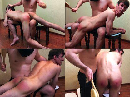 Brush and hand spanking boy Dimka 23