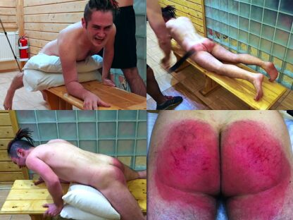 Belt and strap spanking for skateboarder