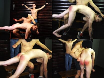 Lad hard hand spanking